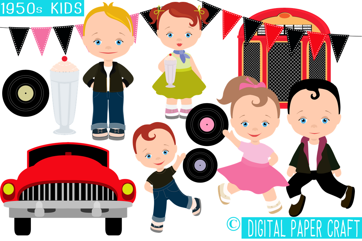 50s clipart.  s kids retro