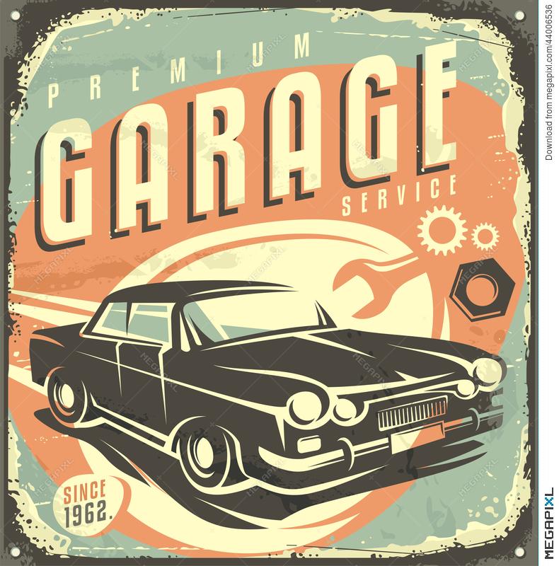 Garage vintage metal sign. 50s clipart 50's car