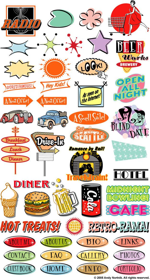 Diner clipart clip art. Fifties commercial and personal