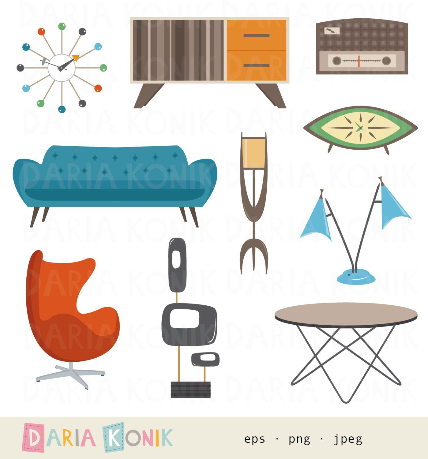 Furniture clipart furniture design. Retro set midcentury modern