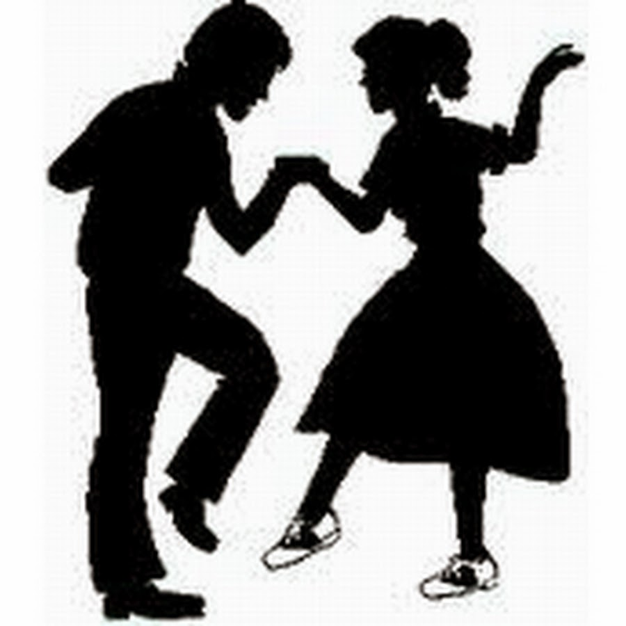50s clipart black and white.  s silhouette at