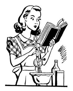 S housewife clip art. 50s clipart black and white