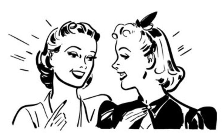 50s clipart black and white. Girls talking clip art
