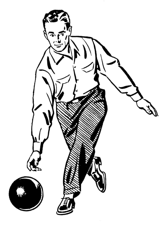 Bowling clipart man. Retro clip art woman