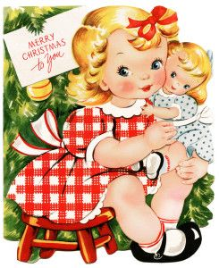 Retro christmas card girl. Brownies clipart old fashioned