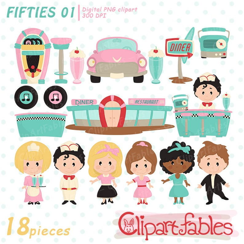 50s clipart cute. S set fifties diner