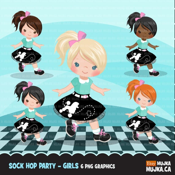 Sock hop party s. 50s clipart cute