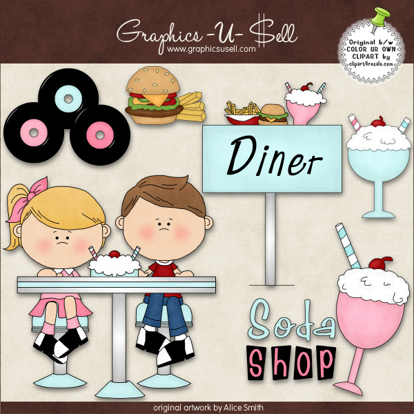 50s clipart diner food.  s graphic collection