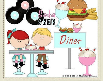 Etsy commercial use clip. 50s clipart diner food