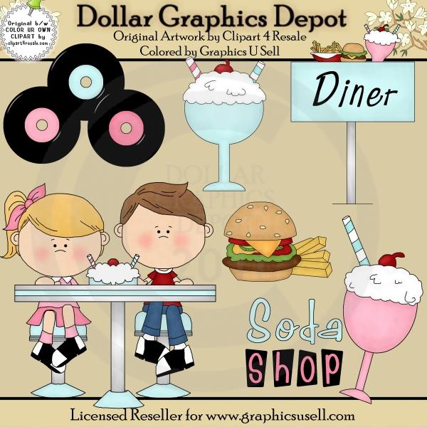 s clip art. 50s clipart diner food