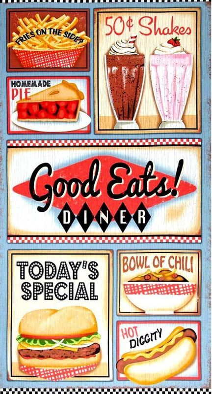 50s clipart diner food. Fabric panel good eats