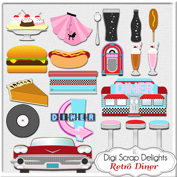 Free s cliparts download. 50s clipart diner food