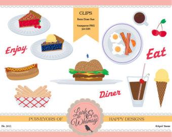 Etsy all american digital. 50s clipart diner food