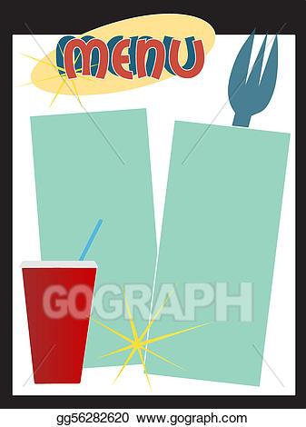 Diner clipart diner menu. Vector art retro style