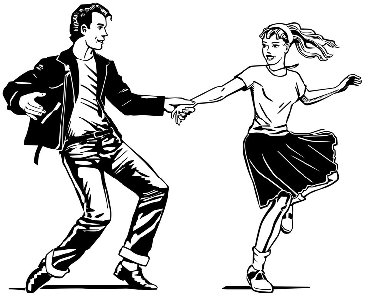 Free s dancers cliparts. 50s clipart greaser