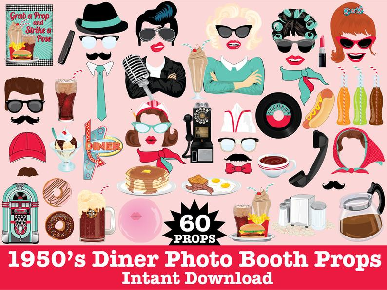 50s clipart greaser.  s photo booth