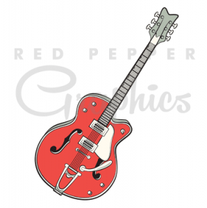 Clipart guitar 50's. Red pepper retro vintage
