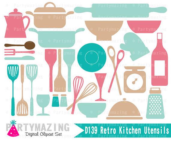 50s clipart kitchen. Set retro utensils clip