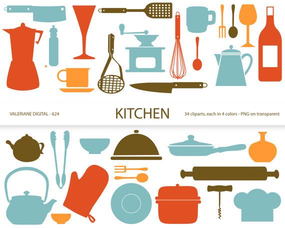50s clipart kitchen. S retro utensils scrapbook