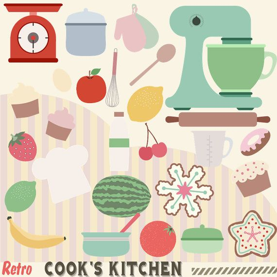 Retro cooks s by. 50s clipart kitchen