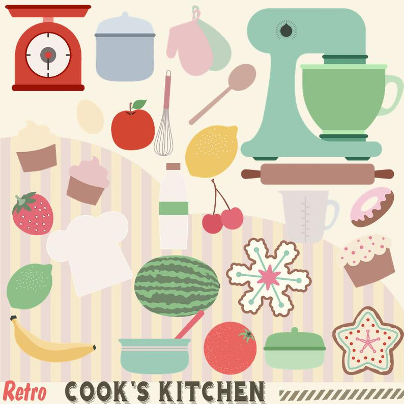 50s clipart kitchen. Retro cooks s cooking
