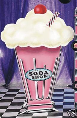 Big s cardboard party. 50s clipart milkshake