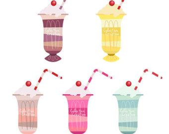 s. 50s clipart milkshake