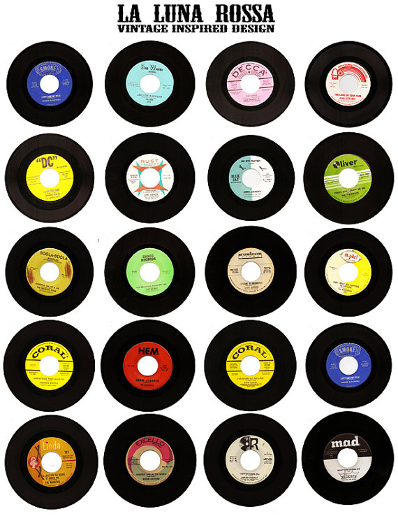 50s clipart record. Vintage vinyl records ephemera