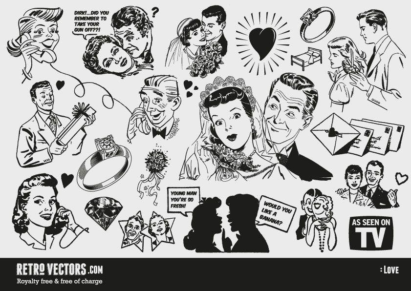 Free s love themed. 50s clipart retro