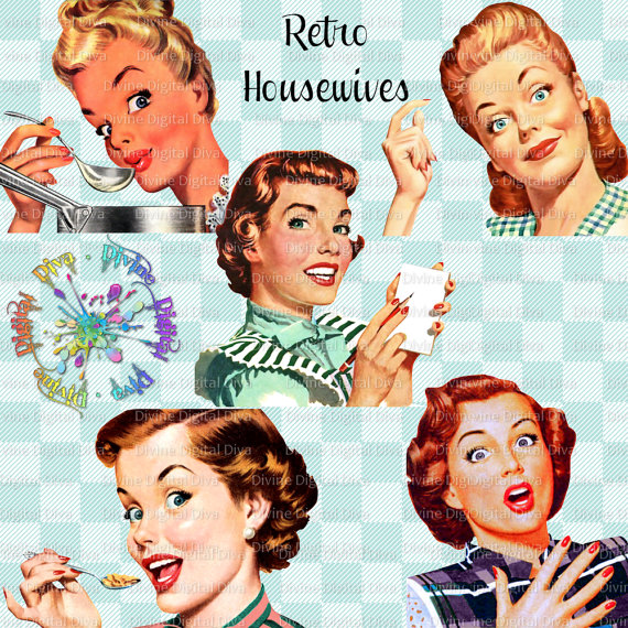 Housewives s vintage mid. 50s clipart retro