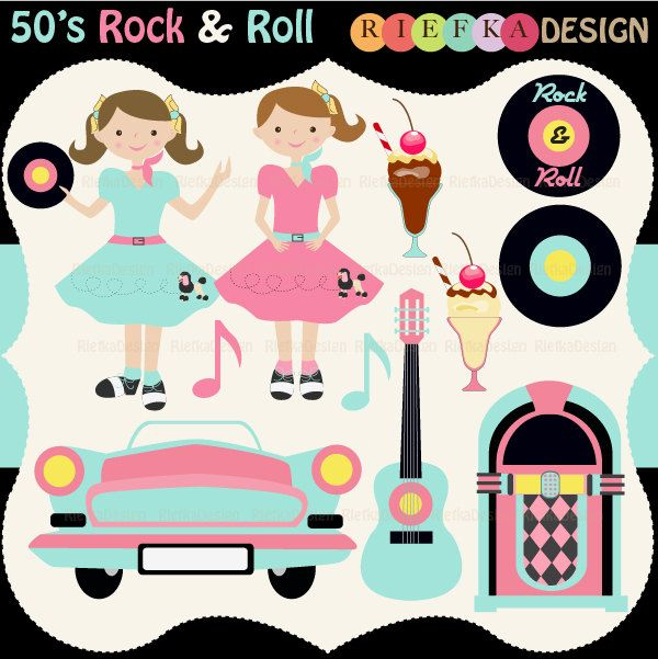 s and set. 50s clipart rock n roll