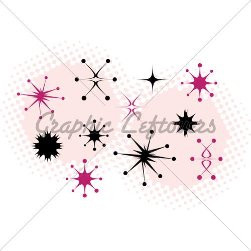Retro stars clip art. 50s clipart star