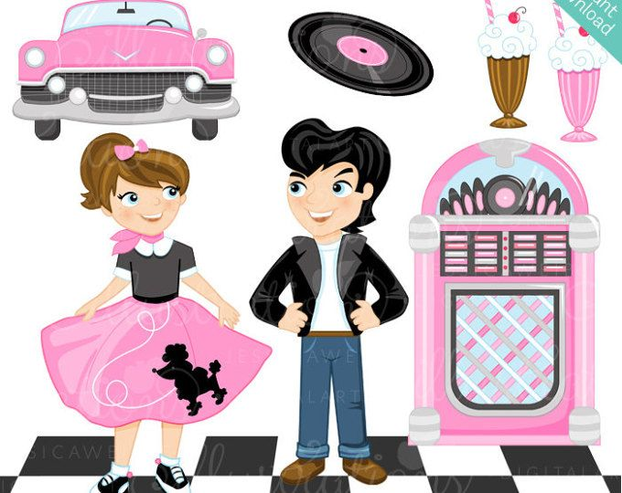 50s clipart theme