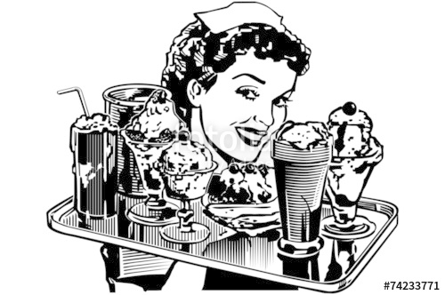 Waitress clipart diner waitress. Retro stock image and
