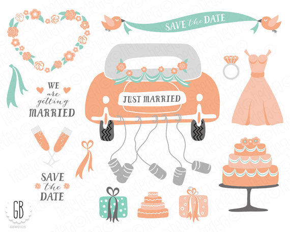 50s clipart wedding. Clip art just married