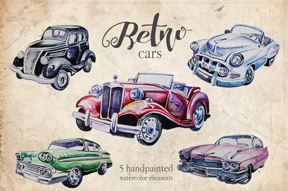 50s clipart wedding. Watercolor retro cars set