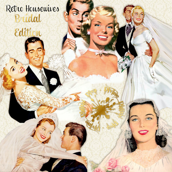 Retro housewives brides edition. 50s clipart wedding