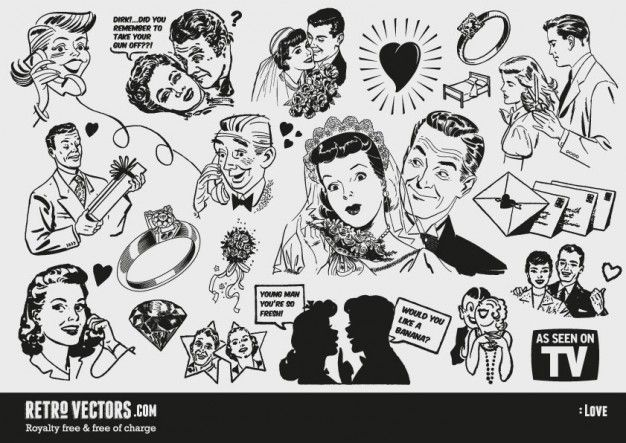 Free s love themed. 50s clipart wedding