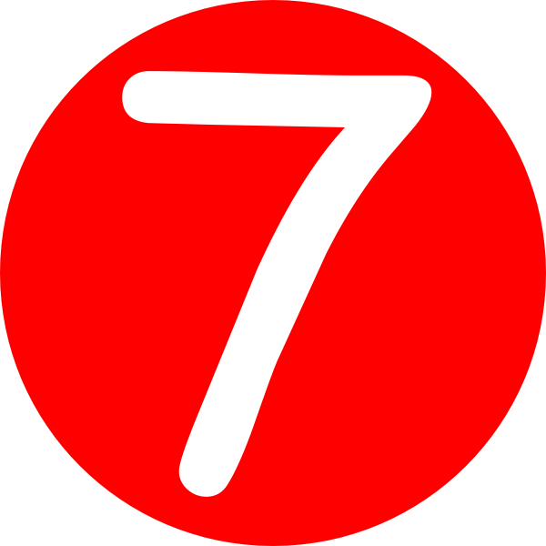 7 clipart. Red rounded with number