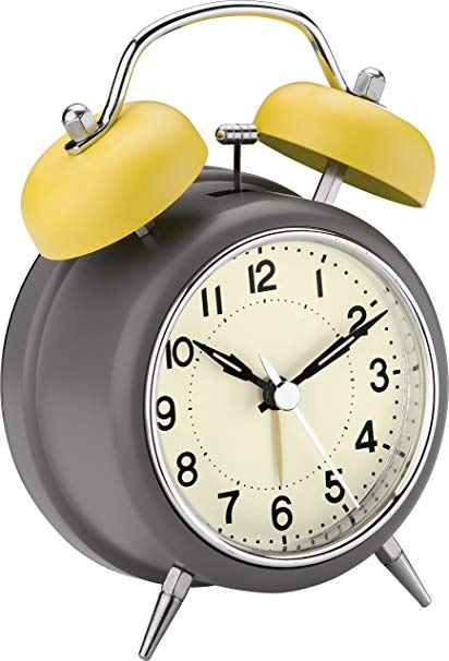 7 clipart alarm clock. Mateo double bell grey
