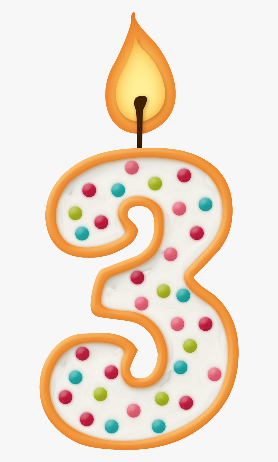 7 clipart birthday. Dot candle number png