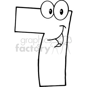 illustration of number. 7 clipart black and white