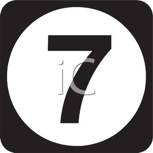 Number on circle royalty. 7 clipart black and white