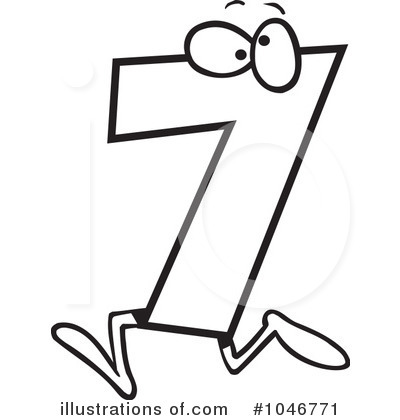 7 clipart black and white.  collection of number