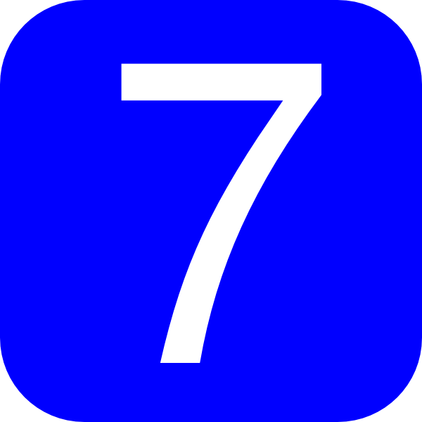 7 clipart blue. Rounded square with number