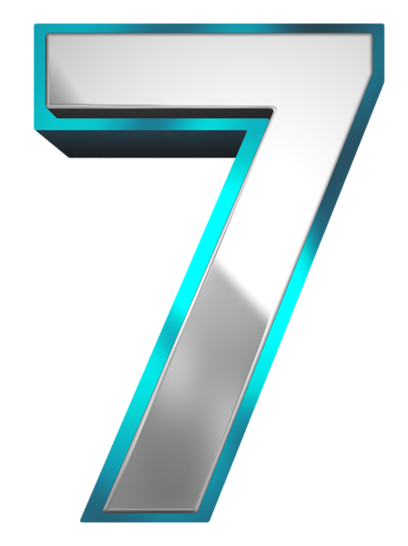 7 clipart blue.  collection of number