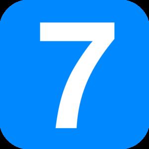 7 clipart blue. Number square clip art