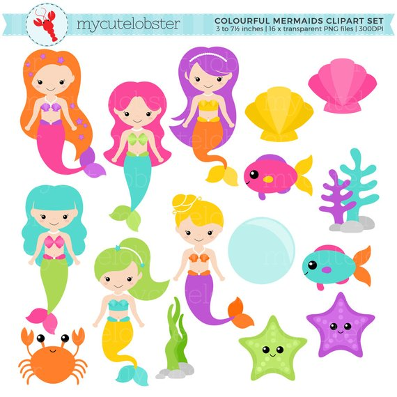 Colorful mermaids set clip. 7 clipart colourful