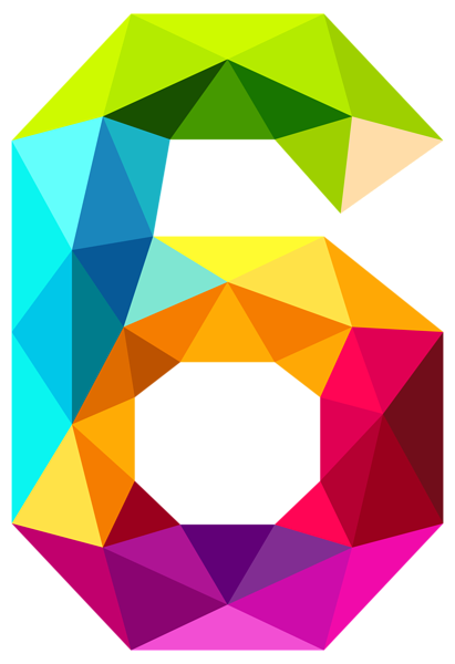 Colourful Triangles Number Six PNG Clipart Image