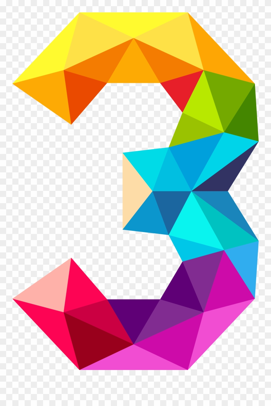 7 clipart colourful. Images triangles numbers clip